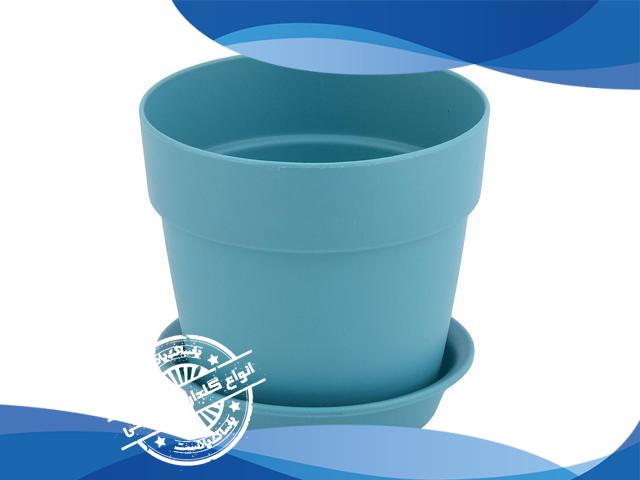 گلدان پلاستیکی آبی